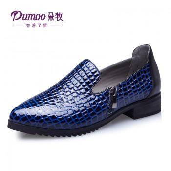 新款欧美真皮复古方跟鳄鱼纹牛皮尖头英伦女单鞋子