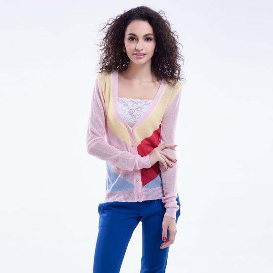 思蓓儿女浅粉红色v领拼色长袖开衫毛衣